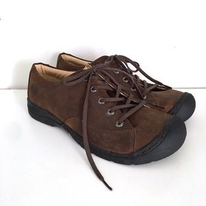 Keen Size 11 Lace Up Oxford Nubuck Brown Leather